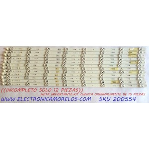 KIT DE LED`S PARA TV / NOTA IMPORTANTE:KIT CUENTA ORIGINALMENTE DE 16 PIEZAS (INCOMPLETO SOLO 12 PIEZAS) / SONY 035S3B13 / 035S4B12 / E88441 / 2014SONY 60A PLU1 3228 / 140127 / 60B PLU1 3228 08 REV1.1 140127 / PANEL ND4S600DNX0101 / MODELO KDL-60W630B