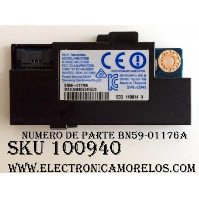 MODULO DE WIFI PARA TV / SAMSUNG BN59-01176A / WEG720B / MODELOS UA55HU9000RMXL / UA65HU9000RXSW / UA78HU9000RXUM / UE55HU8500TXMS / UE65HU8500TXMS / UN55HU9000FX / UN65HU9000FX / UN78HU9000GXPE / UN105S9WAFXZA / UN110S9VFXZA