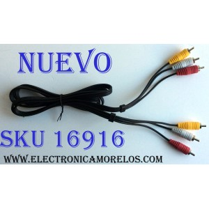 CABLE RCA / COMPOSITE6FT / E337566-YD / PARA DVD / HOME THEATER / CONSOLAS ETC. / AUDIO ANALÓGICO ROJO / AUDIO ANALÓGICO ((MONO)) BLANCO / VÍDEO ANALÓGICO AMARILLO / COLOR AMARILLO TRANSMITE SEÑAL DE VIDEO Y CONECTORES DE COLOR BLANCO Y ROJO PARA AUDIO