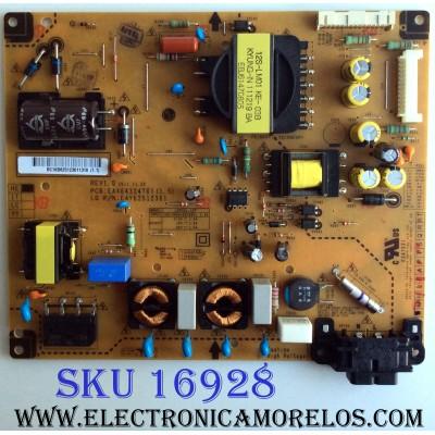 FUENTE DE PODER / LG  EAY62512301/ EAX64324701 (1.5) / 62512301 / 3PAGC10081A-R / LGP32L-12P / PANEL T320XVN01.1 / MPDELO 32LS3500-UD.AWMDLJM