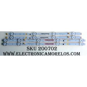 KIT DE LED PARA TV (4 PIEZAS) / SANYO UDULEDLXT003 / UDULEDLXT004 / 39.5W4SIP LEFT / 39.5W5SIP RIGHT / LB39501 V0_00 / REV:A / JX-DLXT004-3B366-0-D-732 / JX-DLXT003-3B355-0-D-734 / PANEL´S U5A23XT / V400HJ6-PE1 REV:C2 / MODELO FW40D36F