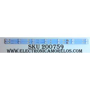 KIT DE LED PARA TV / YHE-4C-LB320T-YHL / TOT_32D2700_2X7_3030C_7S1P BI-LENS / 006-P1K3417B / 010816-rC7XFS-00