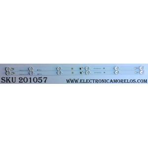 KIT DE LED´S PARA TV (2 PIEZAS) / TCL 006-P1K3489A / TOT_32D2900_2X6_3030C_65P1 REV:V4 / YHE-4C-LB3206-YH02J / 150217-rA7XFa-20722 / 150217-rA7XFa-20721 / PANEL´S LVW320CS0T / T8-32D2900-LPN2 / MODELO 32S305TEAA