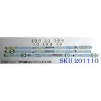 KIT DE LED`S PARA TV (3 PIEZAS) / SANYO UDULEDLXT003 / UDULEDLXT004 / 39.5W4SIP LEFT / 39.5W5SIP RIGHT / LB39501 V0_00 / LB39501 V1_01 / JX-DLXT004-3B388-0-E-62H / JX-DLXT003-3B386-0-E-62G / PANEL U5A23XT / MODELO FW40D36F