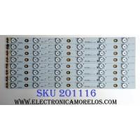 KIT DE LED`S PARA TV (8 PIEZAS) / SANYO 4C-LB400T-YH3 / 006-P2K1793B / 40F2370-6EA / PANEL LVF400SSDX E7 V6 /  MODELO DP40D64 P40D64-02
