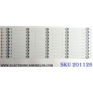 KIT DE LED`S PARA TV (10 PIEZAS) / HISENSE YFD0194V-0E350839 / SVH550AC3_5LED_REV03_140919 / 00512Y / PANEL  HD550DF-B52(010) / MODELO 55H6B