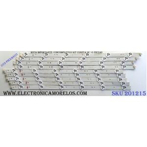 KIT DE LED´S PARA TV ((INCOMPLETO SOLO 9 PIEZAS)) / CHANGHONG LB-C490F13-E2-L-G1-SE1 / LB-C490F13-E2-L-G1-SE2 / SVJ490A06_REV02_6LED_140605 / P88SD / PANEL C490F14-E1-L (G3) / MODELO LED49YD1100UA