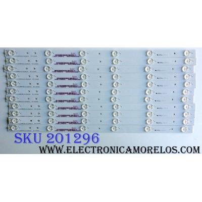 KIT DE LED´S PARA TV (11 PIEZAS) / HISENSE 1149320 / HE50SLKVH / 127MA42R-B1 / Hisense_50_HD5000DU-B01_01_11x6_3030C_651P REV.V1 / PANEL HD500DU-B01(010)\F2\SS0\GM\ROH / MODELO 50H6C
