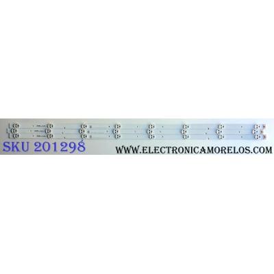 KIT DE LED´S PARA TV (3 PIEZAS) / SHARP 1171297 / JL.D39681330-003BS-M / 17B F4 C 30 B1 D170310 / PANEL JHD396N2F01-KSQL\S6\FM\ROH / 211094 / MODELO LC-40P5000U