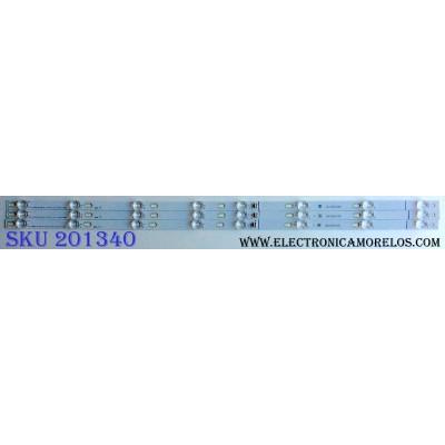 KIT DE LED´S PARA TV (3 PIEZAS) TCL TOT_43D2900_3X8_3030C_D6T_2D1_4S1PX2 REV.V2 / YHB-4C-LB4308-YH05J / PANEL LVF430CS0TE7 V1 / MODELO 43S303