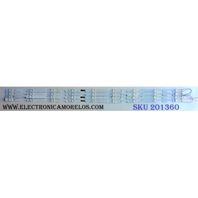 KIT DE LED´S PARA TV (4 PIEZAS) / AVERA LGL4949-3030JF-ES-106 / 160821/18A/M1/30/WY-6102AB / 160819/18A/M1/30/WY-6102AB / PANEL`S LSC490FJ01 / LSC490FJ01-W / MODELO 49EQX10