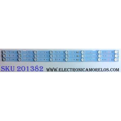 KIT DE LED´S PARA TV (3 PIEZAS) / UPSTAR ZH32D08-ZC14F-01 / 31-315-316-33 / E243157 / N285D-0 / 2010002593/B22 / 141015A2 / PANEL TH315L424 / MODELOS P32EA8 / P32EE7