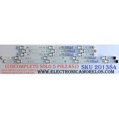 KIT DE LED´S PARA TV / SOLO 5 PIEZAS) / ((INCOMPLETO)) / LG SSC_43LJ55_7LED_REV01_170930 / SSC_43UK63_A_S / SSC_43UK63_B_S / LC43490084A / LC43490085A / LC43 4900 84A LGD 43091 / LC43 4900 85A LGD 43091 / PANEL NC430DGG-AAGX3 / MODELO 43UK6300PUE BUSWLJM