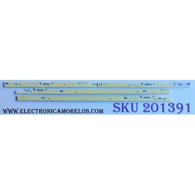 KIT DE LED´S PARA TV (4 PIEZAS) / SAMSUNG / 3D-7032LED-L / V3LE-650SMC-R0 / 3D-7032LED-R / V3LE-650SMD-R0 / 65FHZW / BN96-28865A / BN96-28866A / BN96-28867A / BN96-28868A / 65 7K TYPE B / 65 7K TYPE A / PANEL CY-SF650DSLV1H / MODELO UN65F7100AFXZA TH02