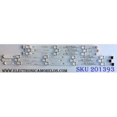 KIT DE LED´S PARA TV (6 PIEZAS) / LG SSC_43LJ55_A_S / SSC_43LJ55_B_S / SSC_43LJ55_7LED_REV01_170930 / LC43490072A / KPBB / 21S1B / LC43 / 4900 / 72A / BOE / 43079 / PANEL NC430DUE-ABFX1 / MODELOS 43LJ5500-UA / 43LJ5500-UA.AUSYLJM / 43LJ5500-UA.BUSYLJM