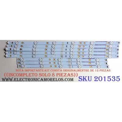 KIT DE LED´S PARA TV ((INCOMPLETO SOLO 8 PIEZAS)) / SHARP YX-50022003 / YX-50022013 / 500TT66 V1 / E74739 / PANEL TPT500J1-HVN08.A REV:S800B / MODELO LC-50LB371U