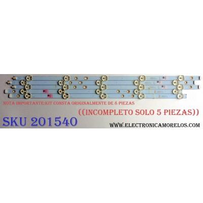 KIT DE LED´S PARA TV ((INCOMPLETO SOLO 5 PIEZAS)) / VIZIO VL50DLL016G / VL50DLR016G / LB50069 V0_02 / LB50069 V1_02 / 81075 / PANEL S500DUB-1 / MODELOS E50-E3 LRTIVJAS / E50-E3