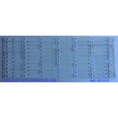 KIT DE LED´S PARA TV (11 PIEZAS) / HISENSE SVH550AA2_REV4_7LED_130628 / SVH550AA2 / 00194 / E0815 / PANEL HD550DF-B57/S0 / MODELOS 55K20DG / 55K23DGW / 55K23DG / NS-55D550NA15
