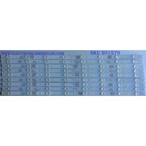 KIT DE LED PARA TV / HITACHI ((INCOMPLETO SOLO 9 PIEZAS)) HK650WLEDM-AH41H / HK65D08A-ZC21AG-04 / 303HK650039 / 2301065F700190 / 2010017616-1 / MODELO LE65K6R9