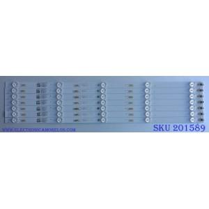 KIT DE LED´S PARA TV / ((INCOMPLETO SOLO 7 PIEZAS)) / INSIGNIA LVF550CSDX E13 V1 / TCL55D05-ZC22AG-03 / 303TC550033 / 4C-LB550T-ZC1 / MODELO NS-55D510NA19