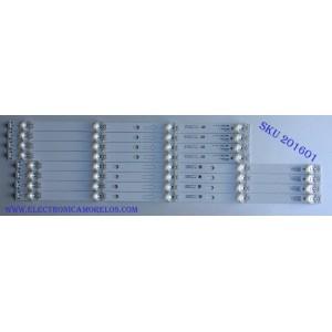KIT DE LED´S PARA TV ( 8 PIEZAS) / TCL 55HR330M05A8 V0 / 55D2900 A-1 / 55HR330M04B8 V0 / 55D2900 B-1 / 4C-LB5505-HR22J / 4C-LB5504-HR22J / PANEL`S LVF550ND1L CD9W16 / LVF550ND1L / MODELO 55S405