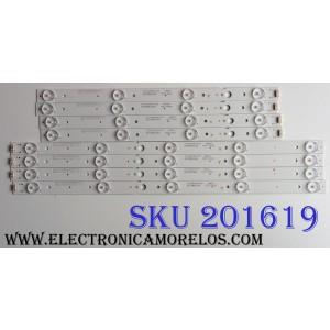 KIT DE LED'S PARA TV (8 PIEZAS) / LG KE54M4KK44 / 7710-64300-L100 / 208223 / 170717A1G / CRH-A4330300104L6CNRve1.0 / PANEL RLD430WY (LD0-304) / MODELO 43UJ6200-UA / 43UJ6200-UA.CUSYLH