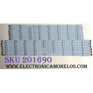 KIT DE LED'S PARA TV (12 PIEZAS) / PIONNER 2010001855/B21 / PLE-5505UHD / E465853 /  TLSM55D17L-ZC14DF-01 / 303TL550031 / PANEL TLSM55D17L / MODELO  PLE-5505UHD