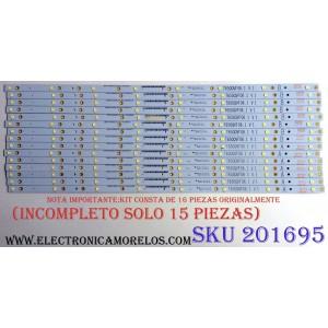 KIT DE LED'S PARA TV NOTA IMPORTANTE: KIT ORIGINALMENTE 16 PIEZAS ((INCOMPLETO SOLO 15 PIEZAS)) / VIZIO T650QVF06.1 V1 / E88441 / ZE65T400023C7 PANEL T650QVF06 / MODELO P65-C1