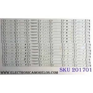 KIT DE LED'S PARA TV (16 PIEZAS) / VIZIO E600DLB032-006 / EM60DLL615FB212.00761 / E334460 / LFTRSZAR5005957 / PANEL / MODELOS M60-C3 / M60-C1 LFTRSZAR
