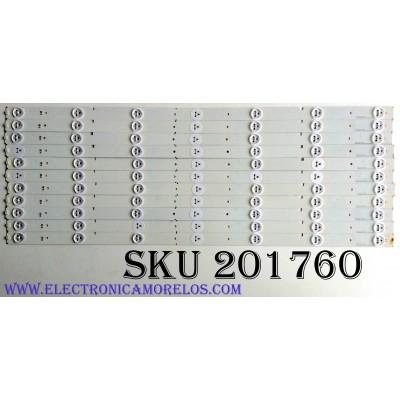 KIT DE LED'S PARA TV (11 PIEZAS) / HISENSE HD550DF-B57/S0 / SVH550AA2_REV05_7LED_130719 /  PANEL HD550DF-B57\S0 / MODELOS NS-55D550NA15 / 55K20DG / 55K23DG / 55K23DGW