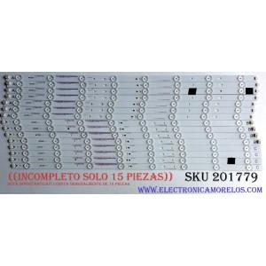 KIT DE LED'S PARA TV ((INCOMPLETO SOLO 15 PIEZAS)) / SHARP IC-C-VZAA65D390A / IC-D-VZAA65D390B / IC-D-VZAA65D390C / 098101022173 / 098101022174 / 098101022175 / F110M9LP45D / MODELO LC-65LE643U