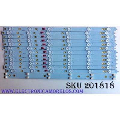 KIT DE LED'S PARA TV (12 PIEZAS) / VIZIO LB50068 V0_00 / 210BZ06D0 / LB50068 / 430430L09L / E465853 / 11712B / 2E765000NYC0 / PANEL TPT500U1-QVN03.U / MODELOS E50X-E1 / E50X-E1 LTMWVJBS