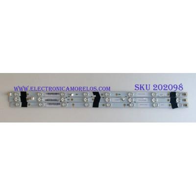 KIT DE LED´S PARA TV ( 3 PIEZAS ) / SHARP / LB32076  V1_00 / 3B755 / MODELO LC-32LE653U