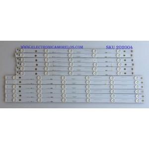 KIT DE LED'S PARA TV (12 PIEZAS) / HITACHI / KHP200681A / KHP200682A / 55D3000/D2000 / LB-C550F14-E4-S-G1-DL5 / PANEL C550F15-E6-H / MODELOS LE55A6R9 / LE55A6R9A