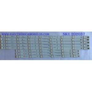 KIT DE LED'S PARA TV ((NOTA IMPORTANTE:KIT CUENTA ORIGINALMENTE 10 PIEZAS ((INCOMPLETO SOLO 8 PIEZAS)) / ELEMENT / IC-B-CNA050D136R / IC-B-CNA050D136L / LXC035 / LXC036 / PANEL T500HVN01.0 / D500D3-GW50-C0X / MODELOS DW50F1Y1 / ELEFW502 D1300 /  SE50FY10