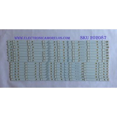 KIT DE LED'S PARA TV ( 15 PIEZAS ) / LG  / EVT LBM650P0701-AA-4(L) / EVT LBM650P0701-AB-5(R) / LA-P0151103 / R4-P0151103 / MODELO LG-65LFS70U