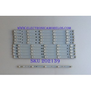 KIT DE LED'S PARA TV (10 PIEZAS) / 39.0-D510-R-C2 / 39.0 -D510-L-C2 / PANEL TPT390J1 HJ1L02 REV:SC1Q / MODELO 39""