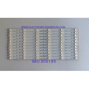 KIT DE LED'S PARA TV ( 11 PIEZAS ) / HISENSE / 1149320 / HISENSE_50_HD500DU-B01_010_11X6_3030C_6S1P  REV.V0 / PANEL V500DJ2-QS5 / MODELO 50H7GB1