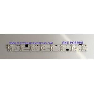 KIT DE LED'S PARA TV (3 PIEZAS) / JVC / IC-D-VZAA32D349A / 0981010221BE / IC-D-VZAA32D349B / 0981010221BF / IC-D-VZAA32D349C / 0981010221BG / PANEL 14Y-32VNB5SR2LV0-C / MODELO EM32FL