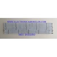 """KIT DE LED'S PARA TV / VIZIO / IC-A-VZAA55D829A / IC-A-VZAA55D829B / PANEL'S LSC550FN11-801 / LSC550FN11-802 / MODELO D55-E0 LAUSVPAT / NOTA IMPORTANTE : KIT CUENTA ORIGINALMENTE 10  PIEZAS ((INCOMPLETO 8  PIEZAS))"""