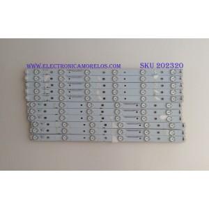 KIT DE LED'S PARA TV (11 PIEZAS) / VIZIO / 130823-WS-480-012 / 01H95 204701.0MM / MODELO E480I-B2 / NOTA IMPORTANTE : KIT CUENTA ORIGINALMENTE 12 PIEZAS ((INCOMPLETO 11 PIEZAS))