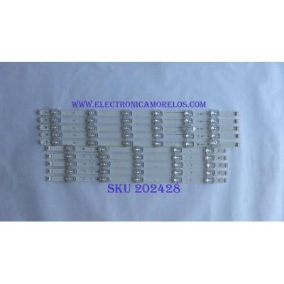 """KIT DE LED´S PARA TV ( 10 PIEZAS ) / LG / 6916L-1991A / 6916L-1992A / 55"""" DRT3.0 Rev0.8 9 R-TYPE 6916L-1991A / 55"""" DRT3.0 Rev0.8 9 R-TYPE 6916L-1992A / 71Y1T / PANEL LC550DUE (MG)(A3) / MODELO 55LF6090-UB"""