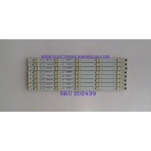 KIT DE LED'S PARA TV ( 8 PIEZAS) / SEIKI / 40-LB4310-LBF2XG / E193079-B / 0402120327 / PANEL LVF430SSTME27 V3 / MODELO SE55UY04