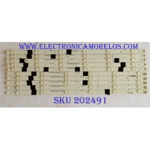 KIT DE LED´S PARA TV / NOTA IMPORTANTE:KIT CUENTA ORIGINALMENTE 12 PIEZAS (INCOMPLETO 11 PIEZA) / SHARP 0981-0102-21 / IC-B-VZAA55D537A / IC-B-VZAA55D537D / IC-B-VZAA55D537C  / PANEL`S T550HVN06.5 / T550HVN08.0 / MODELOS LC-55LE653U / LC-55UB30U