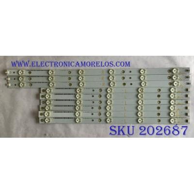 KIT DE LED´S PARA TV SHARP (9 PIEZAS) / 500TT61 / 500TT62 / 500TT61 V0 / 500TT62 V0 / CX-50018030 / CX-50018040 / PANEL TPT500J1-HVN08 / MODELO LC-50LB261U
