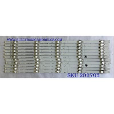 KIT DE LED'S PARA TV HISENSE (11 PIEZAS) / 1182314 / HISENSE_60_HD600N3U22_11X5_3030C_D6T-2D1_W15_55S1P / PANEL HD600N3U22-L2B / HD600N3U22-L2\S6\GM\ROH / MODELOS 60DU6070 /  60RGE