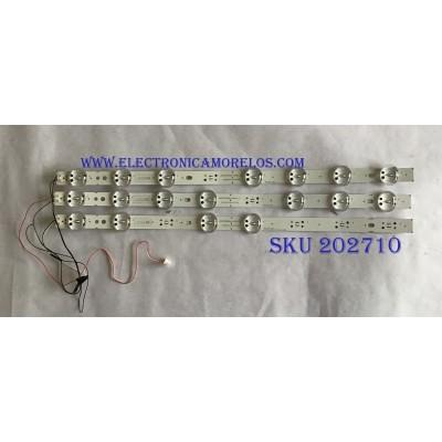 KIT DE LED´S PARA TV LG (3 PIEZAS) / EAV63992802 / HC500DQN-VCUR/L / 50K65/63.REV00.171012 / LG INNOTEK TRIDENT 50INCH 50UK63 LED ARRAY REV0.0_180628 / 3PCM00795A / PANEL NC500DQE / MODELO 50UK6090PUA