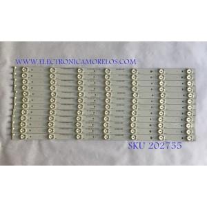 KIT DE LED'S PARA TV  ELEMENT (12 PIEZAS) / A-CNCF55D621 / 910-550-1028 / PANEL T550QVN01.1 / MODELOS E4SFT551 H5A0M / E4SFT551 J5A1M