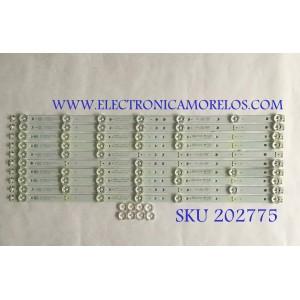 """""""KIT DE LED'S PARA TV / K490WDR / 4708-K49WDR-A1213K11 / K490WDR1168041 / PANEL K490WDR1 / MODELO 49L621U / NOTA IMPORTANTE : KIT CUENTA ORIGINALMENTE 11 PIEZAS ((INCOMPLETO 10 PIEZAS))"""""""