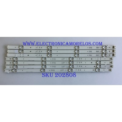 """KIT DE LED'S PARA TV LG / 6916L 2980A / 6916L 2981A / 6916L 2982A / 6916L 2983A / PANEL LC490DUE (FJ)(A1) / MODELO 49LJ510M / NOTA IMPORTANTE : KIT CUENTA ORIGINALMENTE 8 PIEZAS ((INCOMPLETO 7 PIEZAS))	"""